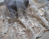 Beige Solid Star Lace Trim Gauze Lace 8.27Inches Wide 1 yard