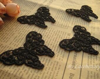 4pcs Appliques Black Venice Butterflies Cute Lace Appliques 2.1 Inches Long 1.8 Inches Wide