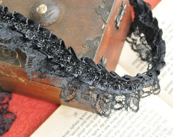 Black Fold Lace Trims 1.57 Inches Wide 2 yards