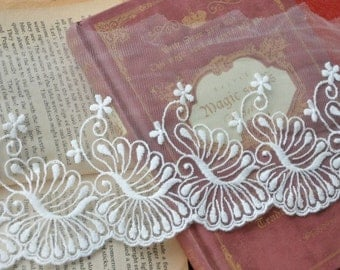 White Cotton Embroidery Tulle Gauze Lace Trims Floral Lace 4.3 Inches Wide 2 yards