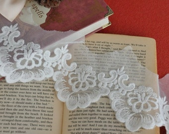 White Cotton Embroidery Tulle Gauze Lace Trims Floral Lace 2.55 Inches Wide 2 yards