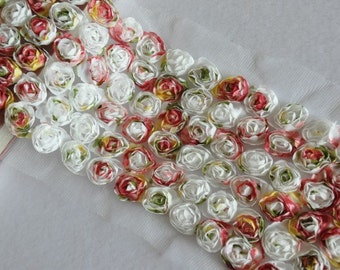 6 Row Colorful Chiffon 3D Roses Lace Trim 4.3 Inches Wide 1 Yard