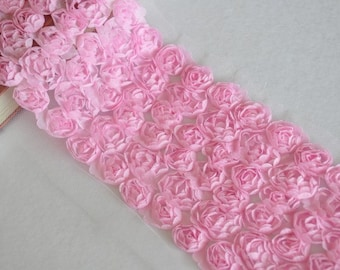6 Row Pink Chiffon 3D Roses Lace Trim 4.3 Inches Wide 1 Yard