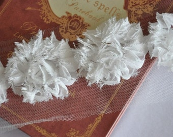 White Chiffon 3D Flower Lace Trim Soft Lace 1.96 Inches Wide 3.86 Yards
