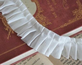 White Chiffon Fold Lace Trim 1.18 Inches Wide 3 Yards