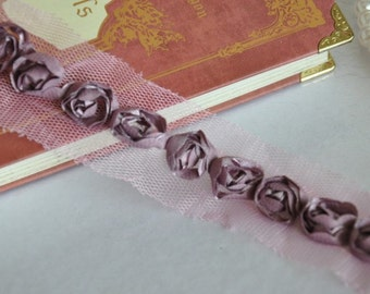 Purple Chiffon 3D Roses Lace Trim 3/5 Inches Wide 2 Yards