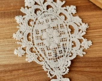 Off White Antique Lace Appliques Venice Lace Embroidery 2pcs