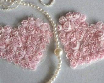 2pcs Lace Heart Appliques Light Pink Floral Chiffon Roses Heart Patches