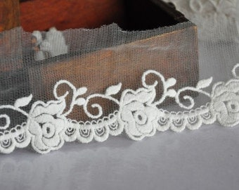 White Rose Cotton Embroidery Tulle Lace Trims 2.36 Inches Wide 2 yards