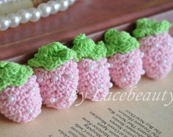 10pcs Crocheting Cotton Strawberry Pearl Beaded Light Pink For Headwear Decor Fashion Costume