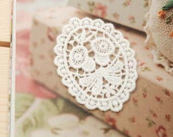 Cotton Lace Appliques White Morning Glory Flower Embroidery Oval Patches 2pcs