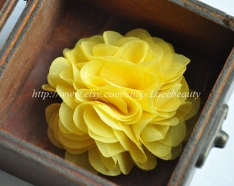 Bright Yellow Chiffon Flowers 2.55 Inches Wide For  Costume Headware Corsage Supplies 2pcs