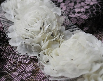 3D Shabby Rose Trim Ivory Chiffon Camellia Flower Lace 2.75 Inches Wide 14 pcs Flowers