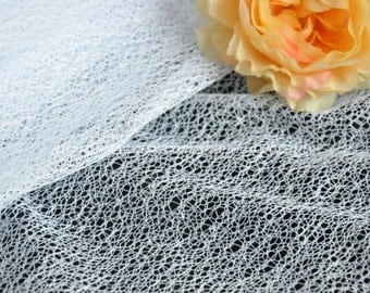White Gauze Lace Fabric 59 Inches Wide 1 Yard For Dress Veil Costume Supplies