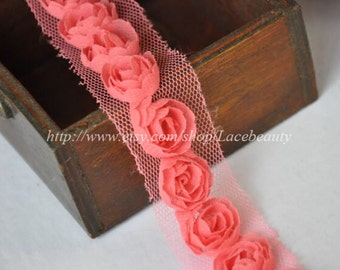 Watermelon Red Chiffon 3D Roses Lace Trim 1.57 Inches Wide 2 Yards