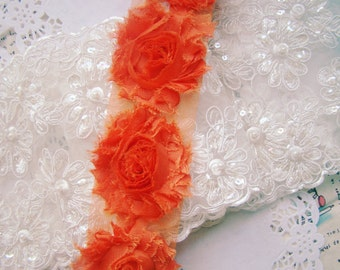 Orange Shabby Rosette Flowers Trim 2.36 Inches Wide 1 Yard