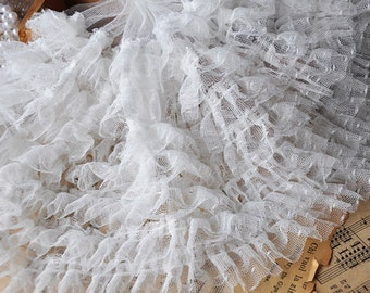 7 Layers White Gauze Lace Trim 9.05 Inches Wide 1 Yard