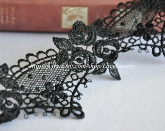 Gorgeous Black Venice Lace Trim Beautiful Roses Lace 2.55 Inches Wide 2 yards