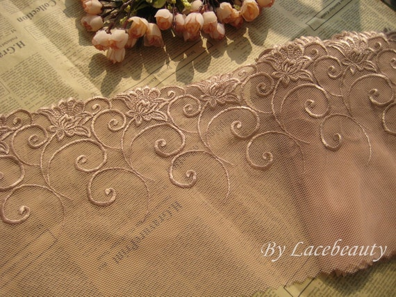 2.1 Yards Embroidery Floral Lace Trims Dark Apricot Mesh Lace 9.4 Inches Wide
