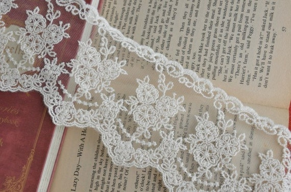 Beige Cotton Embroidery Tulle Gauze Lace Trims Floral Lace 3 Inches Wide 2 yards