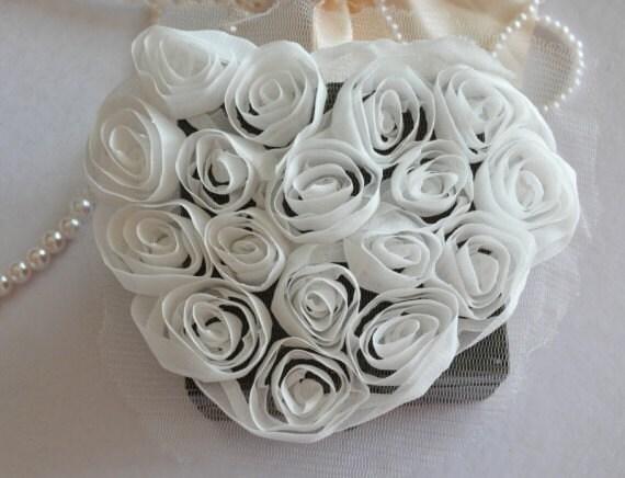 2pcs Lace Appliques White Soft Chiffon Roses Heart Patch