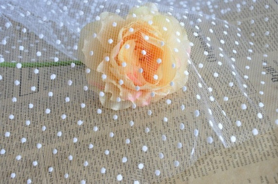 White Lace Fabric Little Dots Veil Lace Tulle Gauze 55 Inches Wide 1 Yard For Dress Veil Custom Headwear Supplies