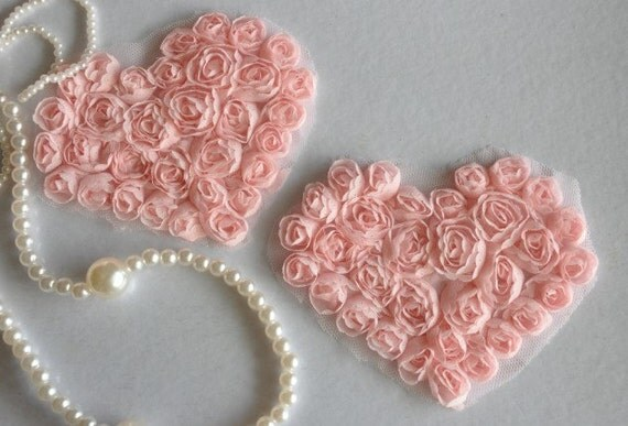 2pcs Lace Heart Appliques Pastel Pink Floral Chiffon Roses Heart Patches