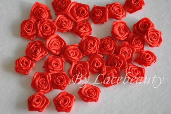 30pcs Red Ribbon Roses Flowers For Headwear Decor Fashion Costume Doll dress
