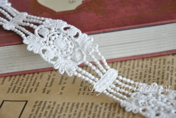 Off White Venice lace Cotton Wave Embroidery Lace Trim 1.37 Inches Wide 1 Yard