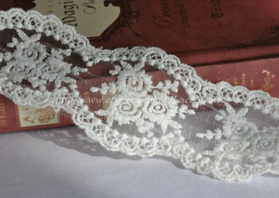 Rose Embroidery Lace Trim Cotton Embroidery Tulle Lace 2.36 Inches Wide 2 Yards