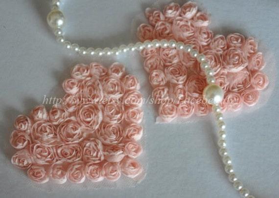 2pcs Lace Appliques Light Pale Pink Chiffon Roses Heart Patches