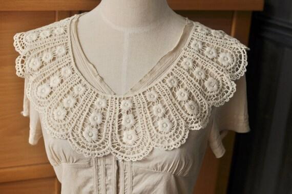 Venice Cotton lace Collar Appliques Beige Floral Emboridey Round Collars 1 pcs