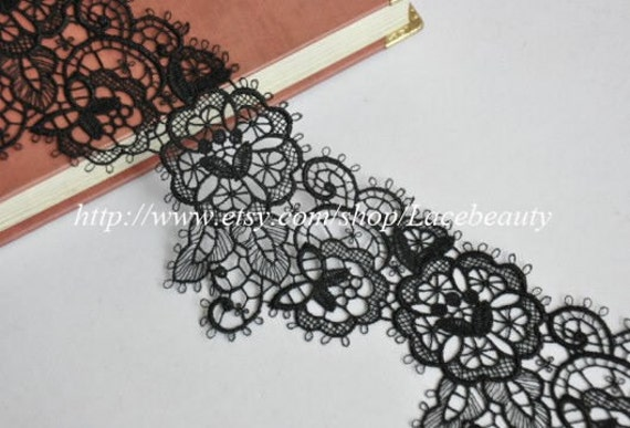 Beautiful Black Venice Lace Trim 2.55 Inches Wide 2 yards
