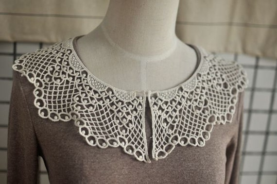 Venice Cotton lace Collar Appliques Beige Floral Emboridey Collar 1 pcs