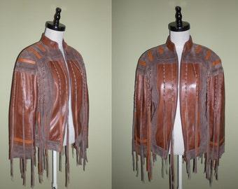 FRINGED Leather JACKET Southwest Boho Rocker Coat Brown Vintage 80s Suede Trim & Long Wild Braided Fringe XXS 00
