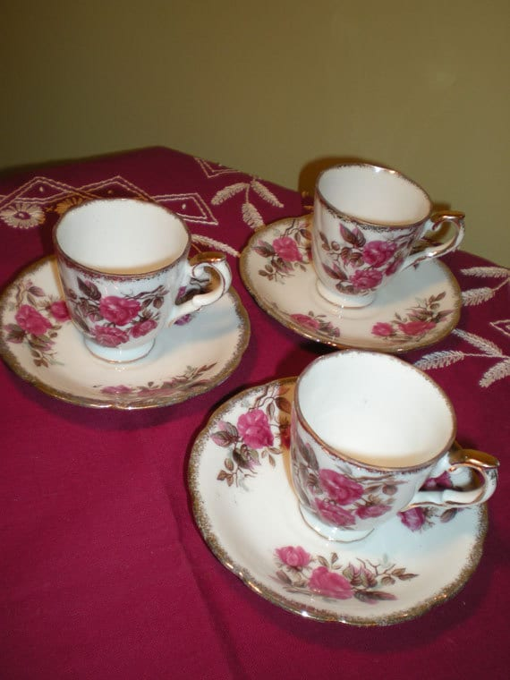 S A L E--DEMITASSE Cups & Saucers Vintage Moss ROSE China Made in Japan Set of 3 Settings Servings