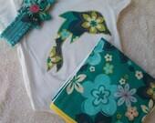 Matching Baby Set- Turquoise Hawaiian Print Onesie, Burp Cloth, and Stretchy Headband
