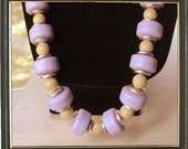 WOW Vintage Lucite Necklace Lavender Silver and Tan