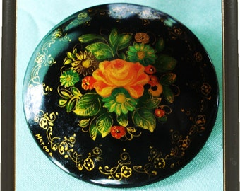 Awesome Large vintage Handpainted Brooch Signed