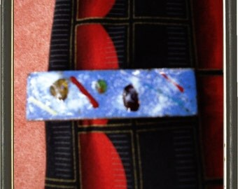 SALE .... Cool Tie Clasp Enamel over Copper