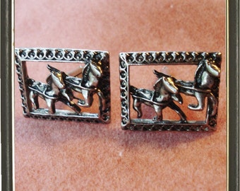 Large Vintage Cuff Links Prancing horses