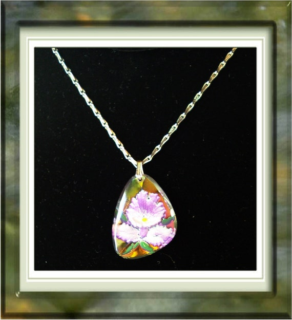 Beautiful Reverse Carved Orchid Necklace