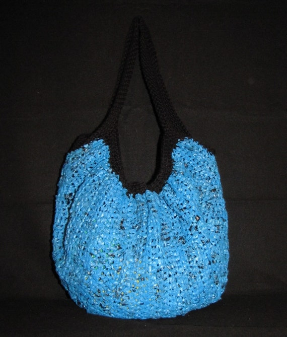 Plastic Grocery Bags transform into EXTRA LARGE Upcycled Pleated Hobo bag, black and blue, made from plastic grocery store bags, plarn
