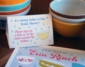 Vintage Dishes Bridal Shower Table Tent