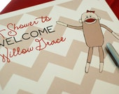 Sock Monkey Baby Shower Sign-In Poster - 12x18