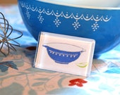 Glass Tile Magnet - Vintage Pyrex Blue Snowflake Mixing Bowl