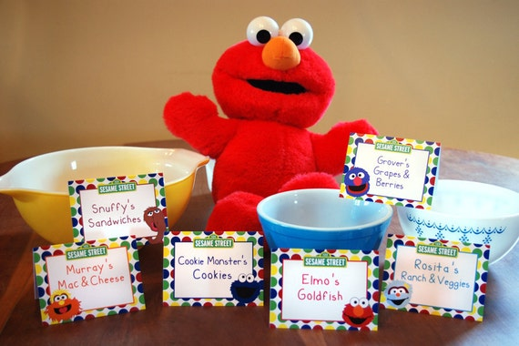 CUSTOM ORDER - RESERVED for Erica Barkman - Sesame Street Food Label Tents - Not Custom