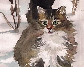 Tabby Cat Art Print of Watercolor Painting