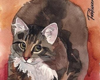Tabby Cat Art Print of Original Watercolor