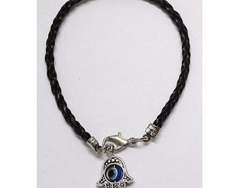 Black  String LUCKY EYE Hamsa Bracelet - Kabbalah ProtectionPendant